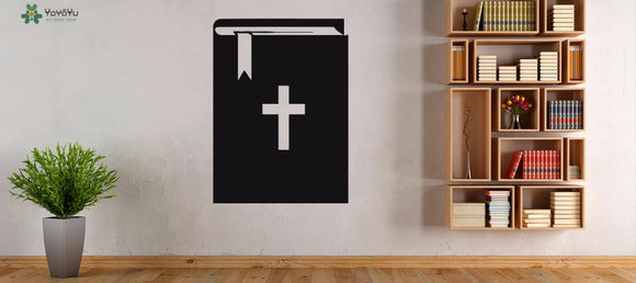 Christianity Vinyl Wall Stickers-Bible Cross Book