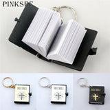 Mini Holy Bible Keychain English/Gold Black Silver Colors