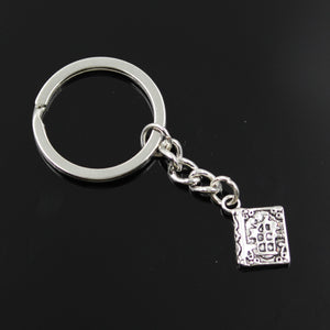 keychain metal holder chain vintage book holy bible 17*11mm