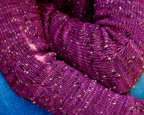 close up photo of two arms leaning over legs to show the arm stitch detail