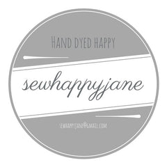 a greyscale logo that reads sewhappyjane Hand Dyed Happy