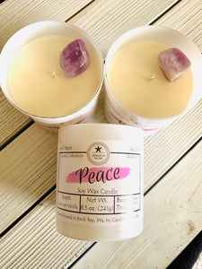 Peace Amethyst Crystal Candle