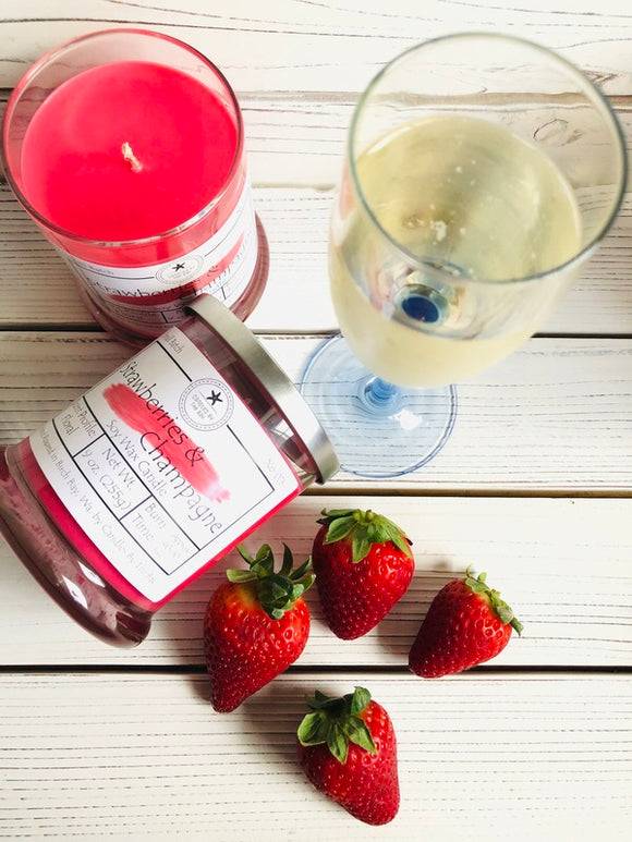 Strawberries + Champagne Soy Wax Candle
