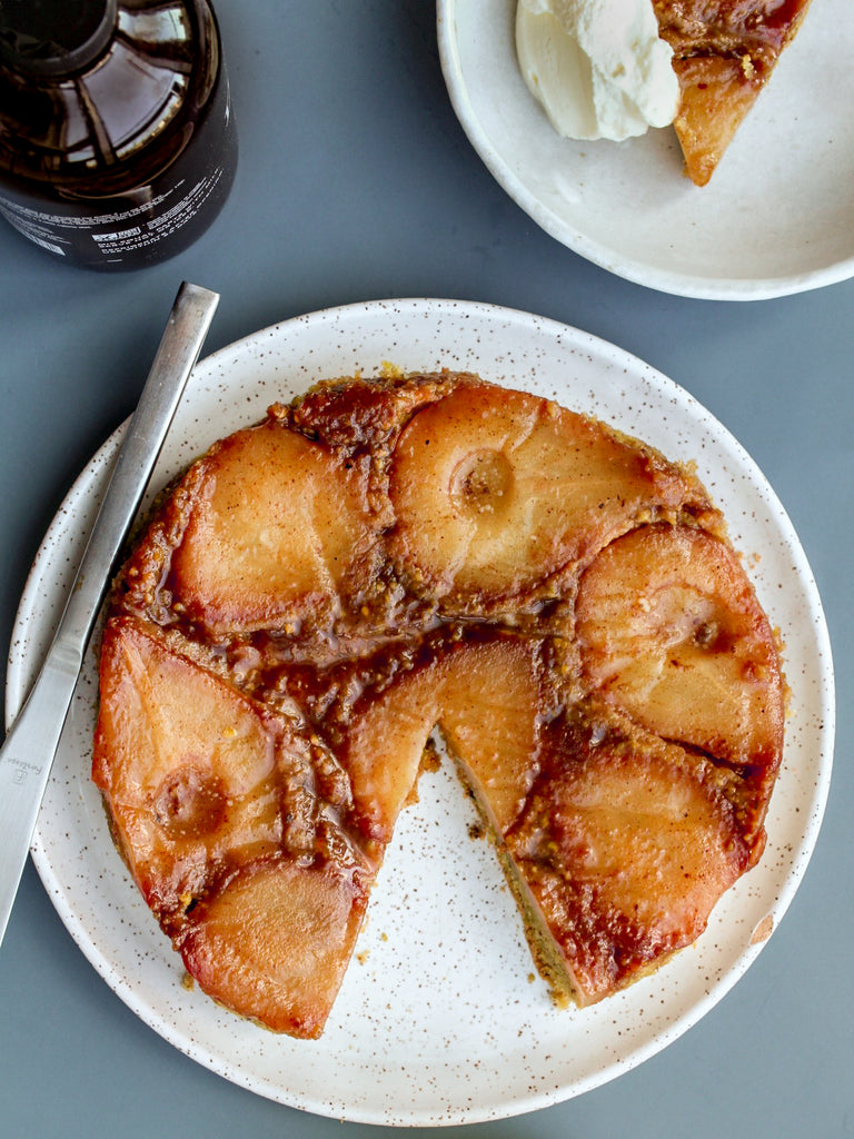 Spiced pear & pistachio upside down cake