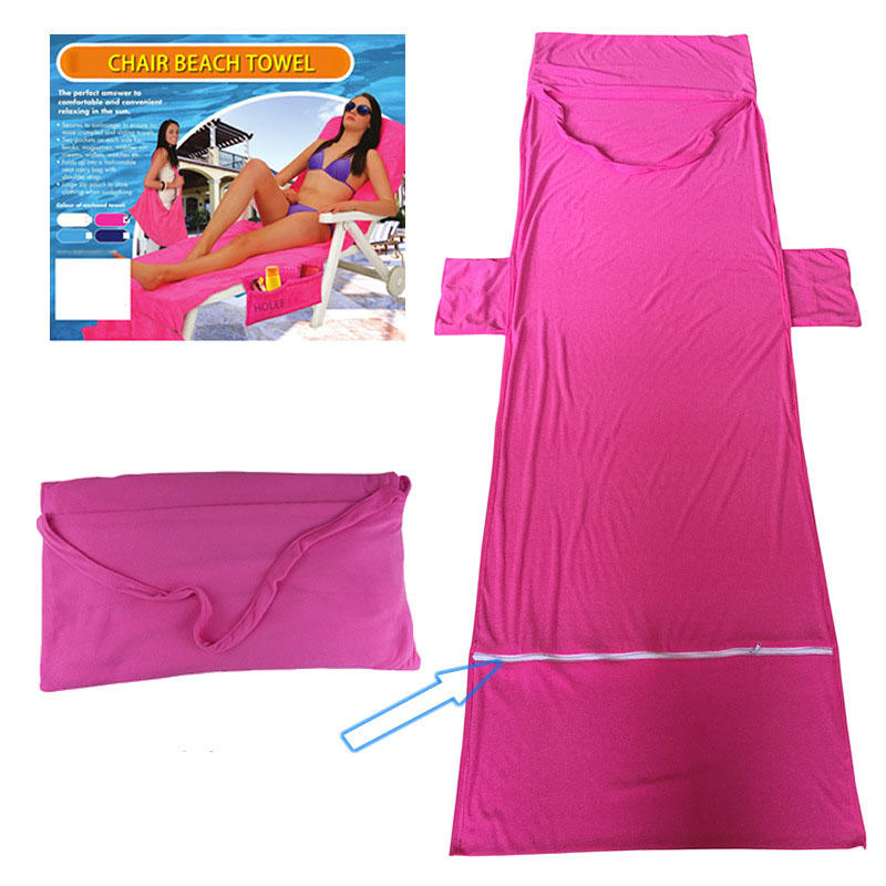 Microfiber Lounge Beach Chair Towel With Pockets