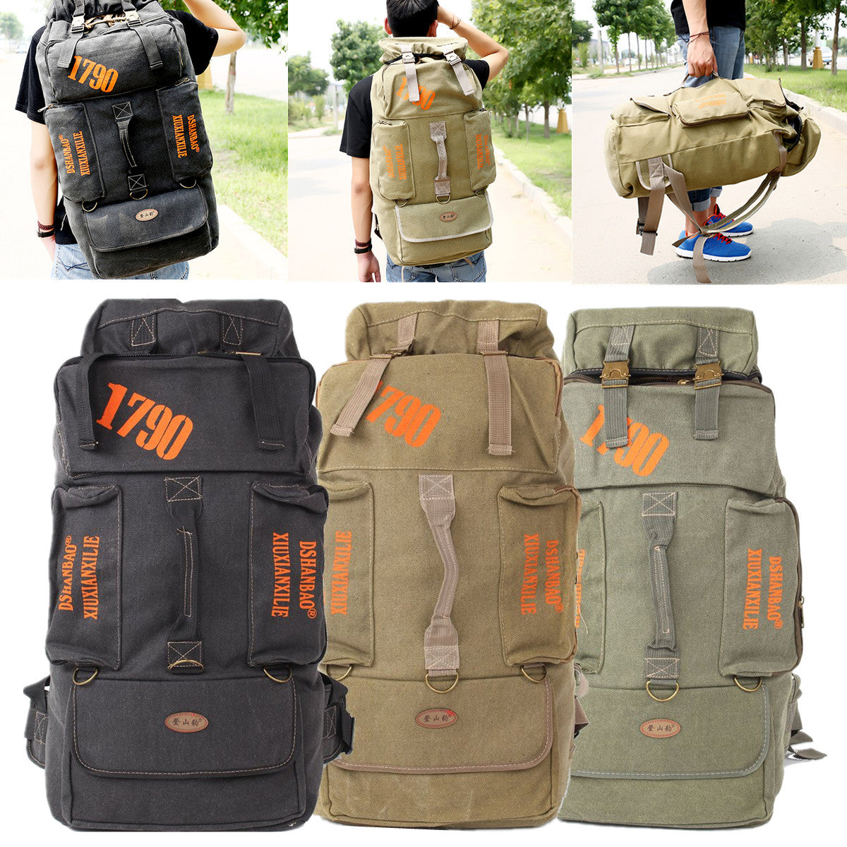 80L Camping-Hiking Canvas Travel Rucksack