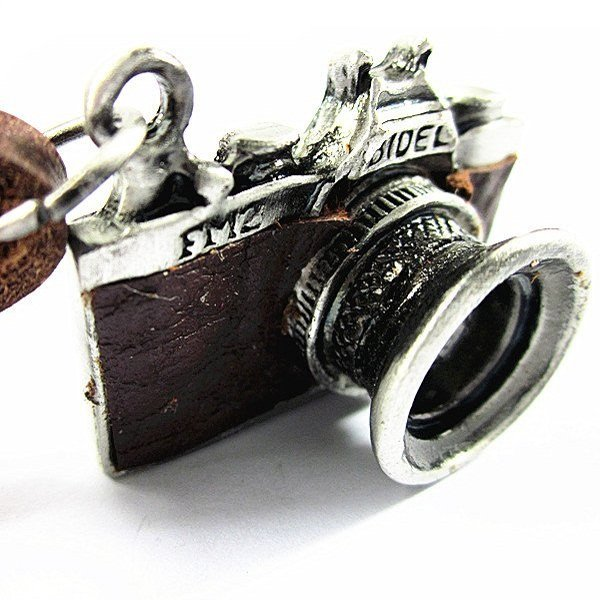 Vintage Handmade Leather Camera Necklace
