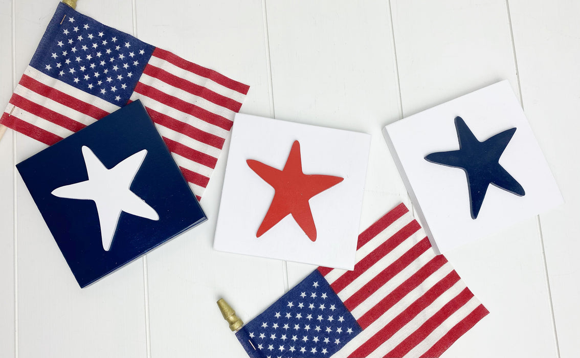Patriotic Stars | 4x4 inch Tiered Tray Signs
