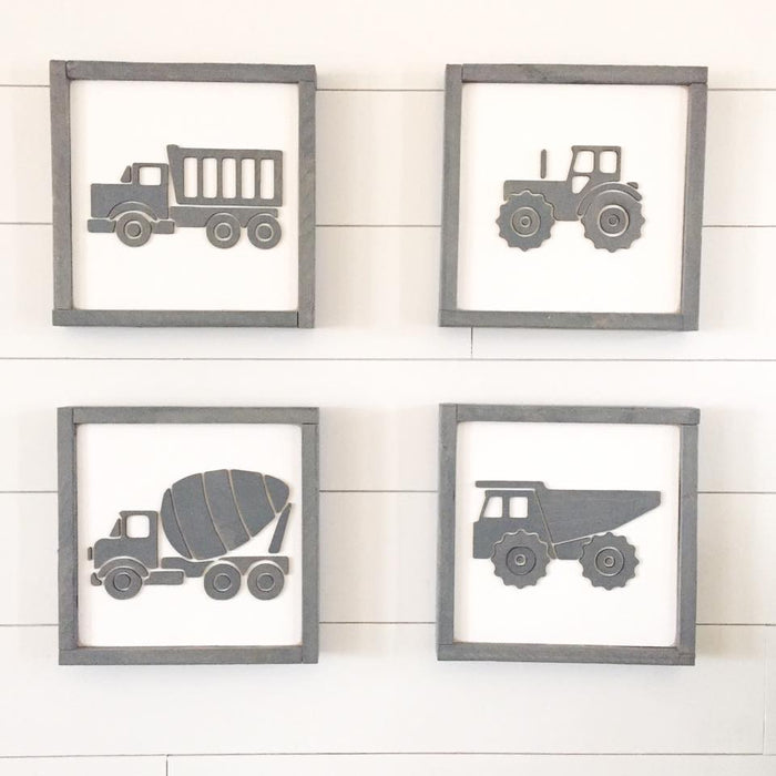 Construction truck silhouettes