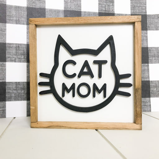 Cat Mom | 5x5 inch Wood Framed Sign
