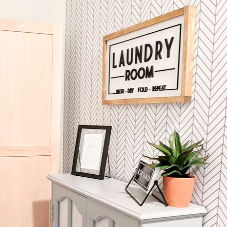 Laundry Room | 11x21 inch Wood Framed Sign | 3D Lettering