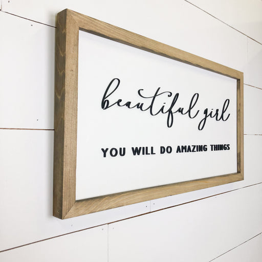 Beautiful Girl | 11x21 inch 3D Wood Framed Sign