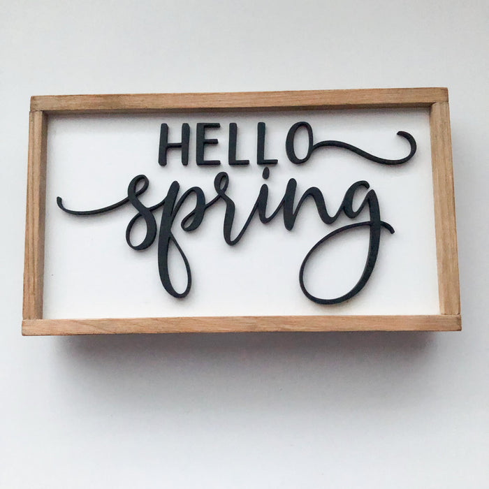Hello Spring Tiered Tray Sign | 4x7 inch Wood Framed Sign