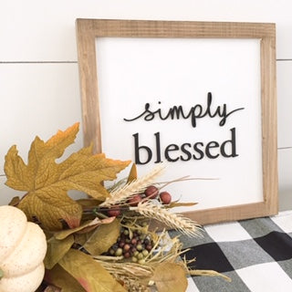 Simply Blessed 11x11 - 3D wood sign