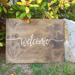 Wedding Welcome sign- reception decor- wood sign- Custom bride and groom sign-Handpainted wooden sign- engagement announcement sign- wedding