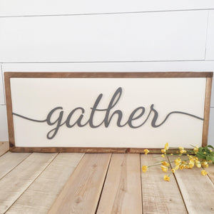 Gather laser cut 3D wood sign- dining room decoration- gallery wall- family sign- Custom sign- farmhouse wall art- home decor