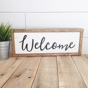Welcome sign- Reclaimed Wood Sign- handpainted wood sign- Custom sign- Handpainted wall art- home decor- house warming gift