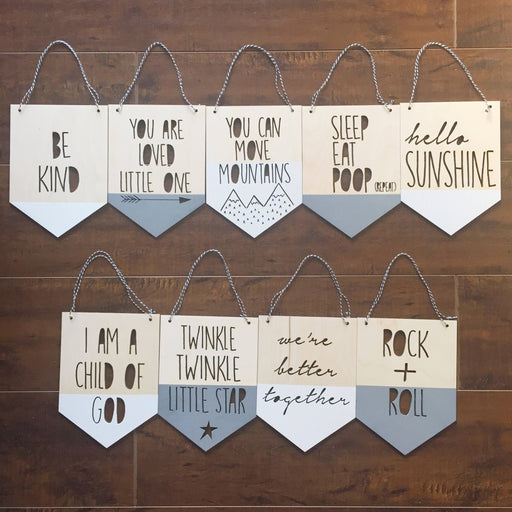 Small wood cutout pennants