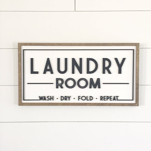 Laundry Room | 10x19.5 inch Wood Framed Sign | 3D Lettering