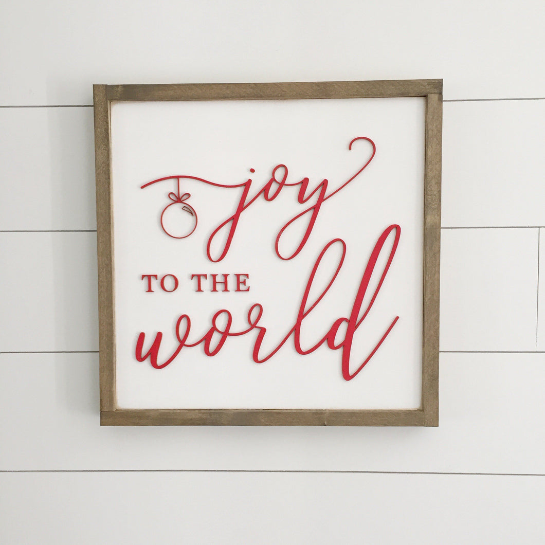 Joy to the World Christmas 3D Sign- 16x16