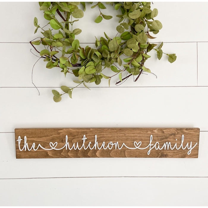 Last name heart family sign