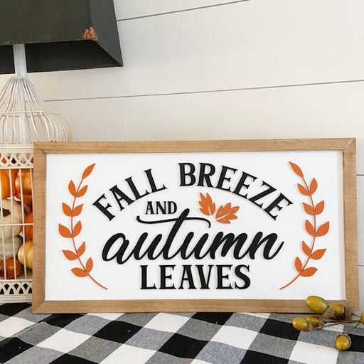 READY TO SHIP | Fall Breeze and Autumn Leaves | 11x21 inch Wood Sign