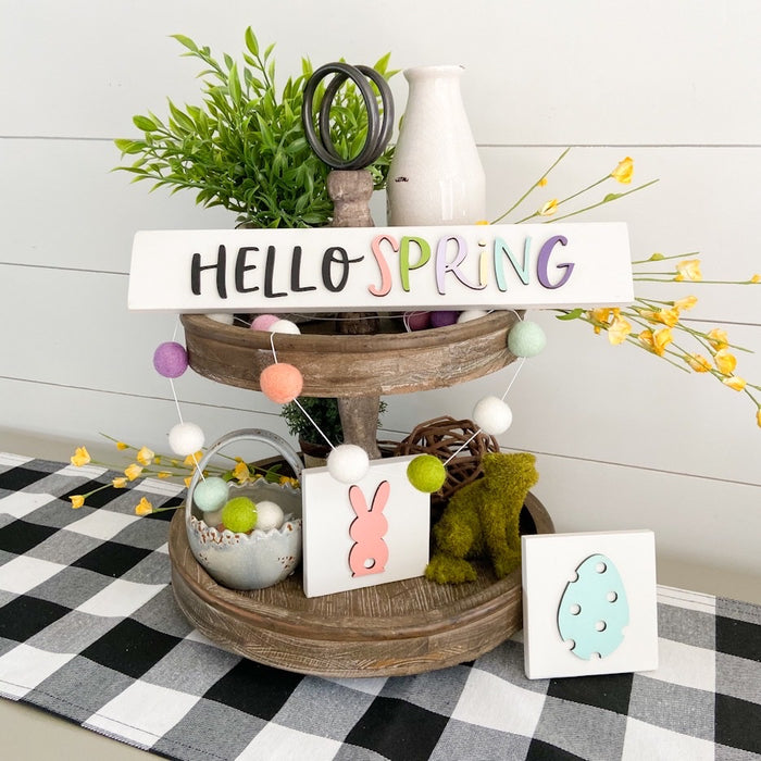 Hello Spring | Wood Tiered Tray Signs