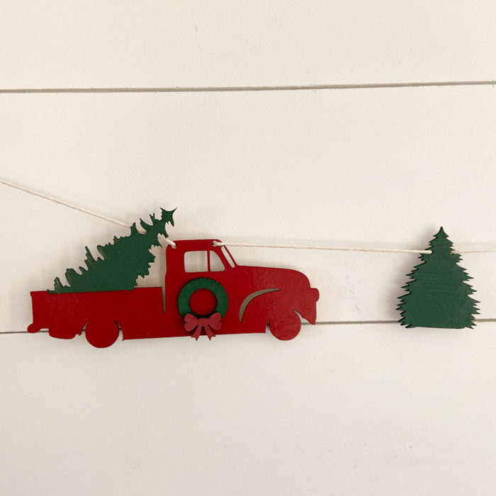 Truck and tree garland