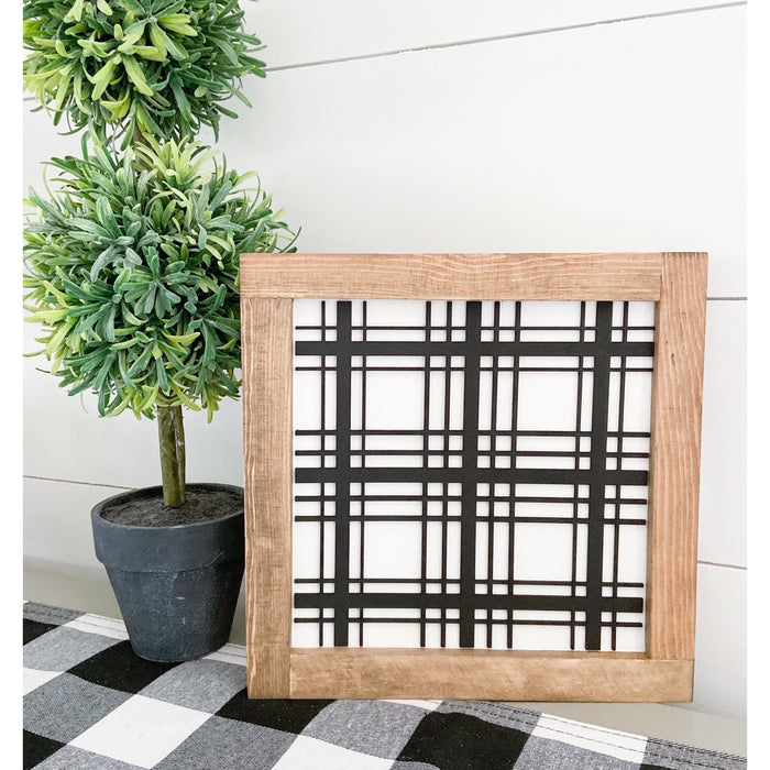 Black Plaid | 11x11 inch 3D Wood Framed Sign