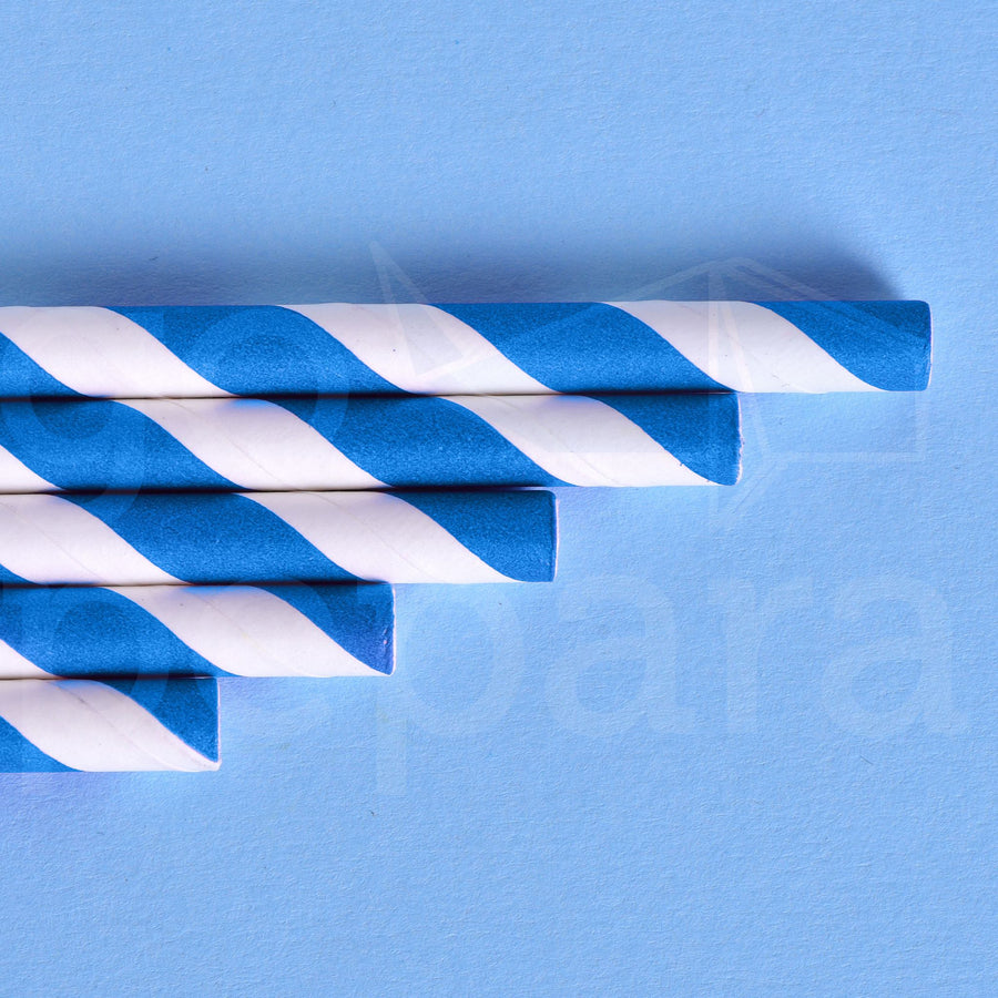 "Blue Stripe Paper Straws (7.75"")"