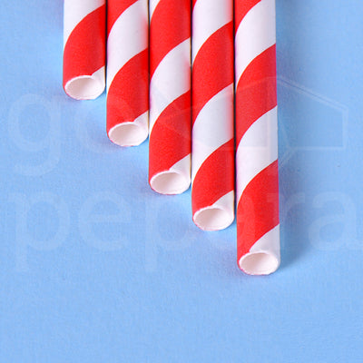 "Red Stripe Paper Straws (7.75"")"