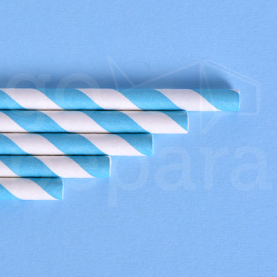 "Light Blue Stripe Paper Straws (7.75"")"