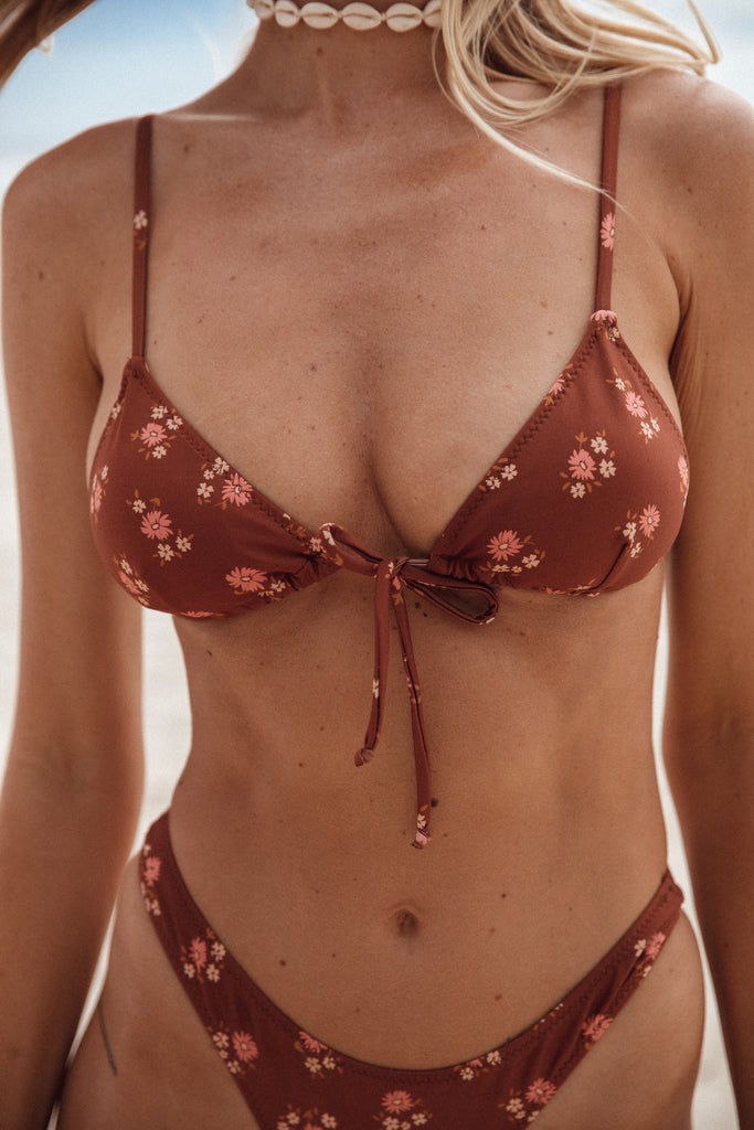 NEPTUNE Triangle Bralette - Rusty Brown/ Floral