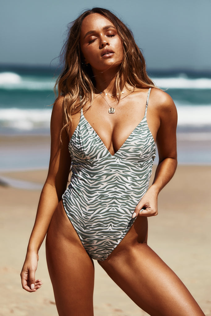 Zanzi Reversible One Piece in Khaki Tiger/ Khaki Floral
