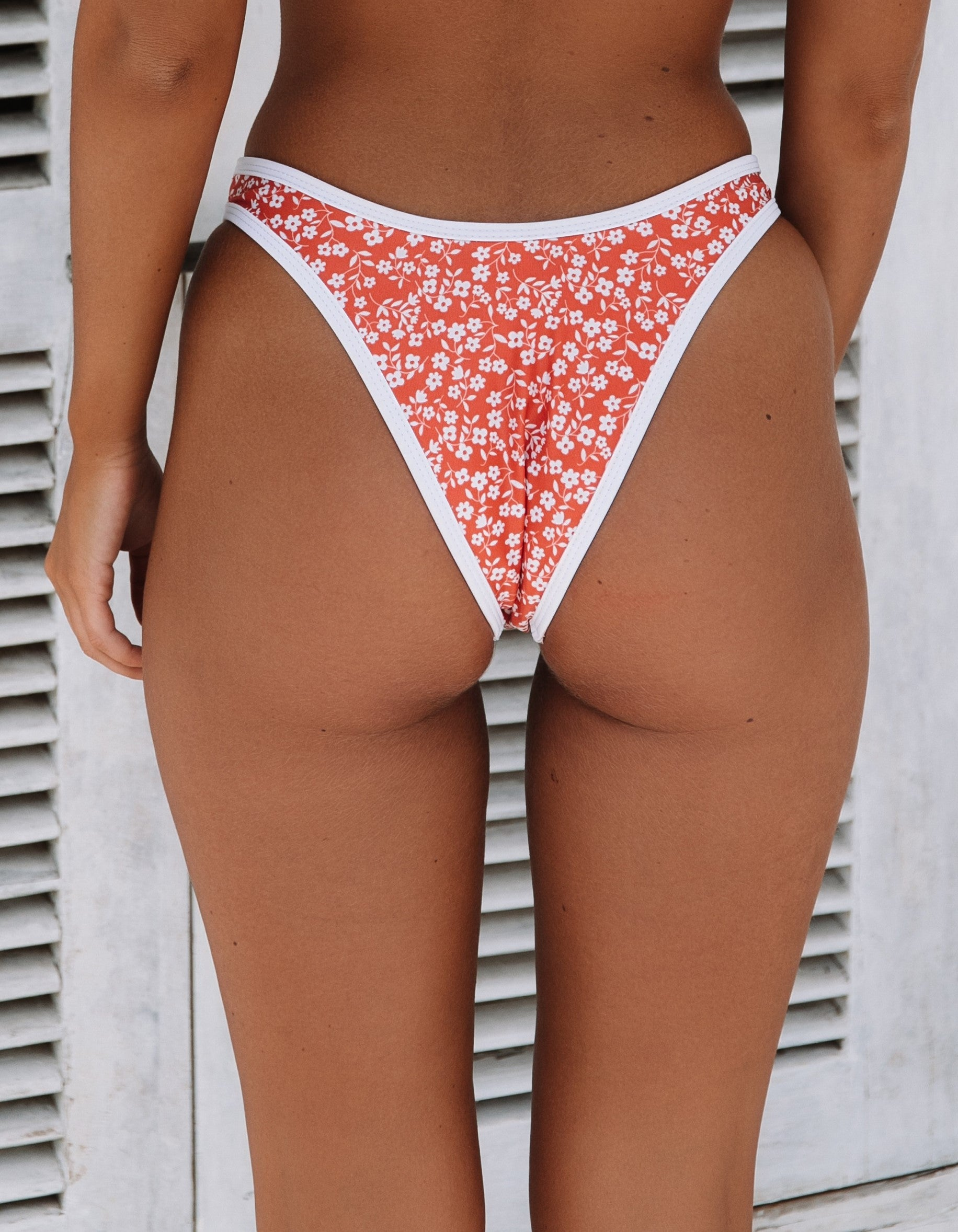 Escape High Rise Brazilian Swim Pant in Clay Red