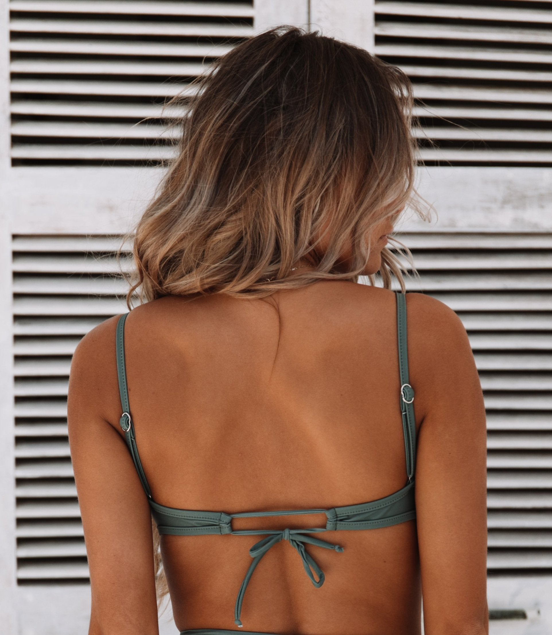 Nirvana Underwire Bralette Swim Top in Khaki