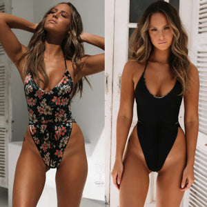 Malibu Wrap One Piece Swimwear in Black/Black Floral