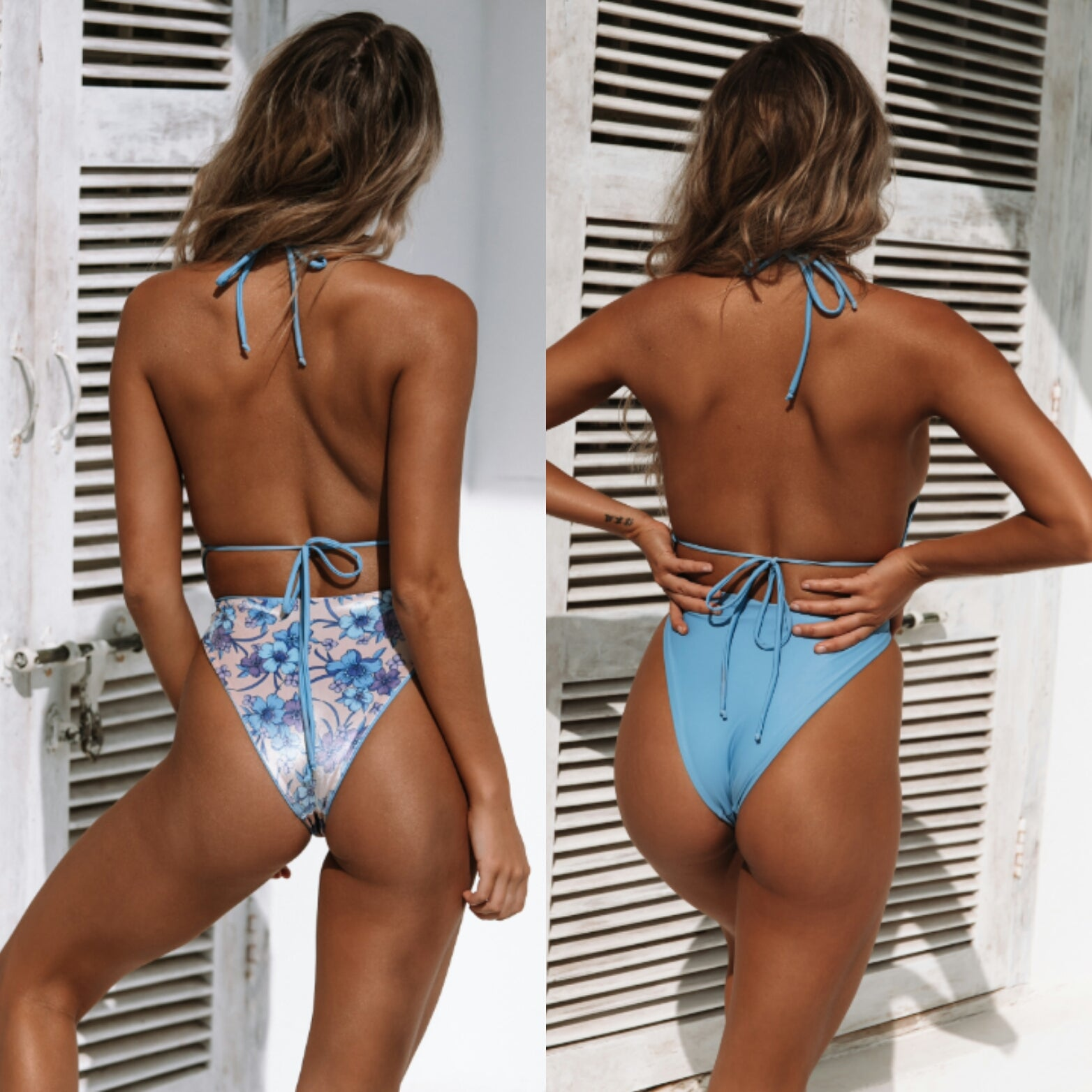 Malibu Wrap One Piece Swimwear in Dusky Blue/Dusky Blue Floral