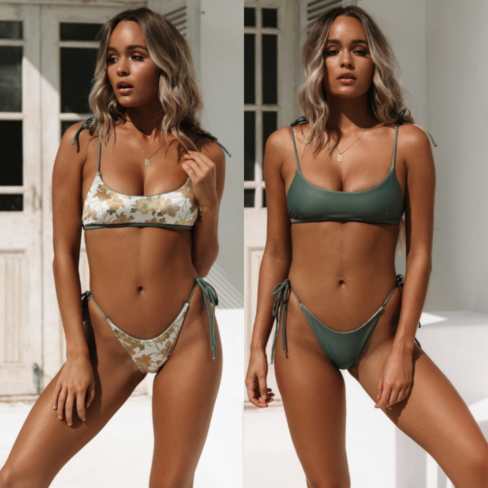 Oasis Scoop Bralette Reversible Swim Top in Khaki/Khaki Floral