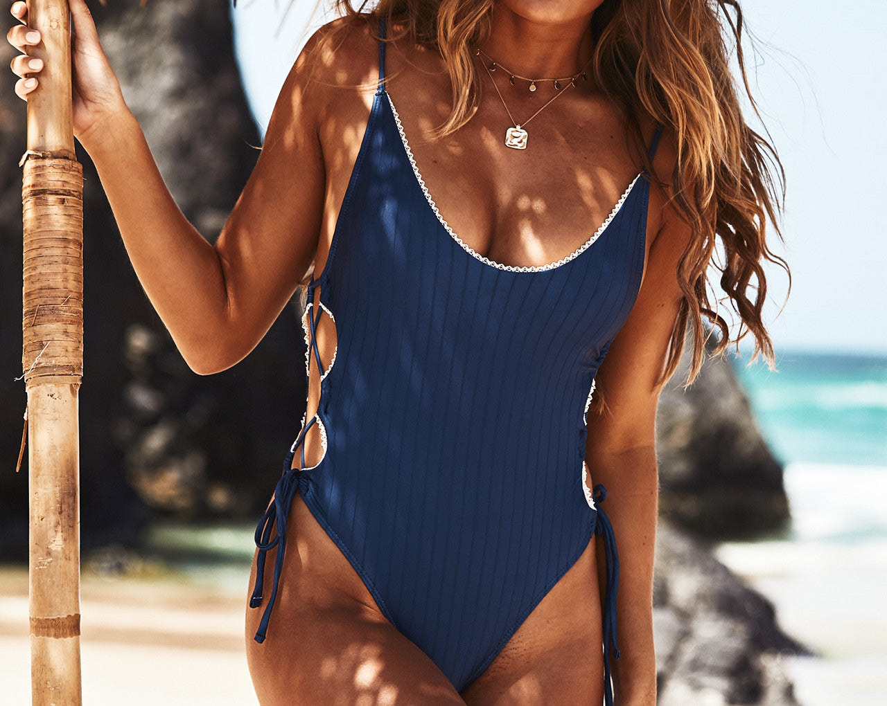 La Concha Lace-up One Piece in Navy