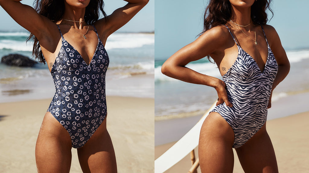 Zanzi Reversible One Piece in Charcoal Tiger/ Charcoal Floral