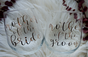 Mother of the Bride + Mother of the Groom Stemless Wine Glasses