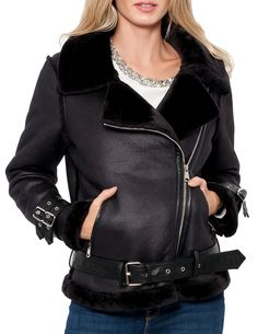 Faux Fur collar biker Jacket