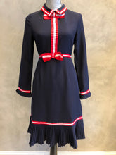 Navy Dress W/ Red Ribbon