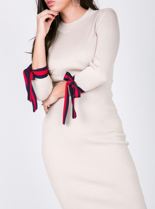Dress With Tie Sleeves