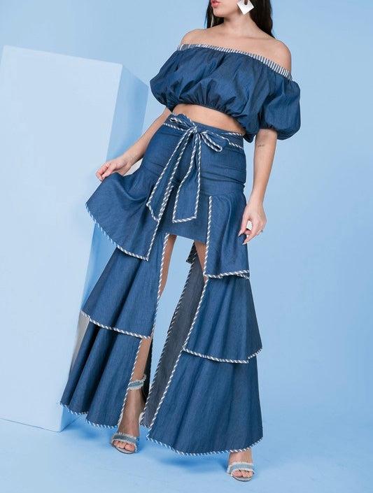Denim Tiered skirt and off shoulder top