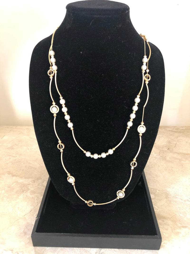 Double strand long necklace