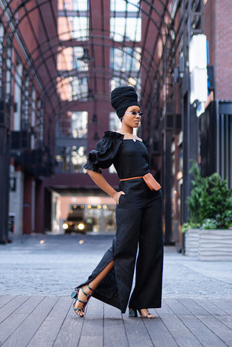 Ruffle sleeve off shoulder jumpsuit
