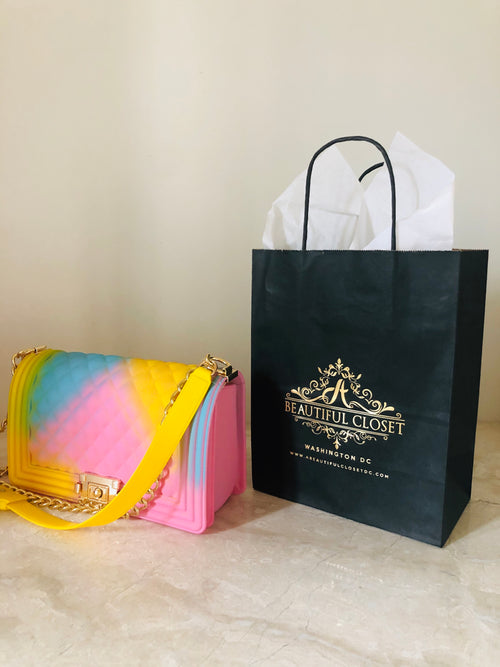 Multi colored yellow bag
