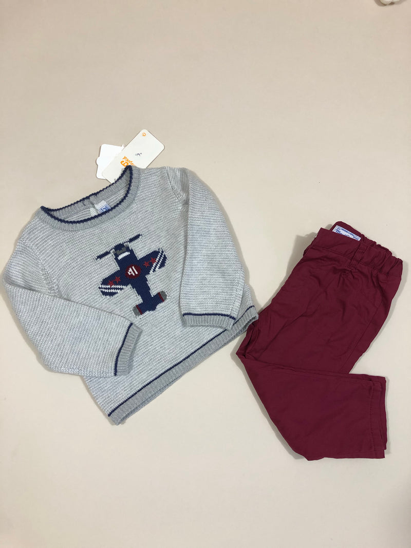 Sweater with long trouser set